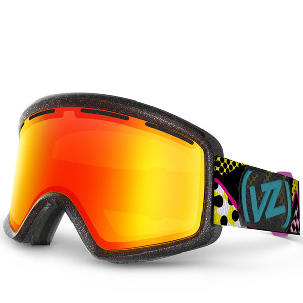Von Zipper Beefy Snowboard Ski Goggles Party Animal Black Fire Chrome Lens